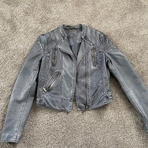Grey Leather Moto Jacket